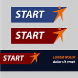 Start and finish, vector sticker, button An image. With a star similar to the human figure Royalty Free Stock Image