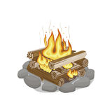 Start of Firewood Surrounded by Stones Burning. Start of firewood burning. Campfire bonfire surrounded by stones on white background. Firewood element with wood Royalty Free Stock Photo