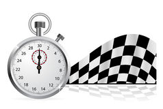 Start_Flag(14).jpg. Checkered flag with a stopwatch on white background Stock Image