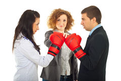 Start of furious business people competition royalty free stock photography