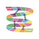 Start and Goal Target Destination with Ladder Shortcut Snake Board Game. Vector vector illustration