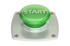 Start green button, 3D rendering. Isolated on white background Stock Photos