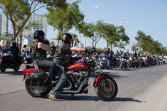 Start of the Harley Davidson Street Parade - Spain 2015 Royalty Free Stock Image