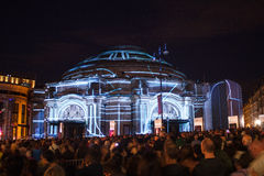 The start of the Harmonium project Edinburgh. Harmonium project, live projection show on Usher Hall. Edinburgh. The show took place on 7th of August and marked Royalty Free Stock Photos