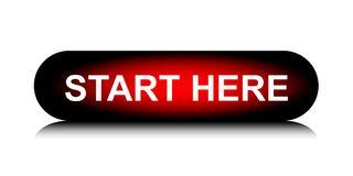 START HERE colorful long round web button stock photo