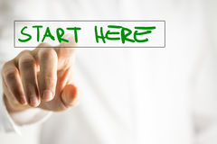 Start here. The phrase Start here on a virtual interface in a navigation bar with a businessman touching it with his finger from behind Stock Photography