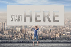 Start here stock images