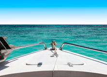 Start Journey to The Sea Concept, View of Speed Boat Moving with Seascape and Clear Sky in Background Stock Photo