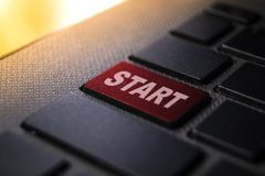 Start keyword on keyboard. Start keyword concept on computer keyboard technology background macro shot royalty free stock photos