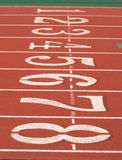 Start Lanes. Track Start Lanes, One thru Eight, White on Red royalty free stock photography