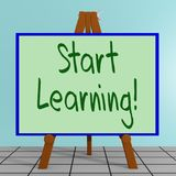 Start Learning! concept. 3D illustration of Start Learning! title on a tripod display board Stock Photo