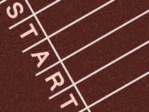 Start line. Athletics track with start spelled out in lanes Stock Images