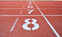 Start line. For athlete lane in 700 year stadium Chiang Mai, Thailand Royalty Free Stock Image
