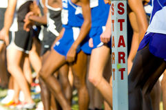 The Start Line. At the beginning of a cross country race with runners in the background Royalty Free Stock Photos
