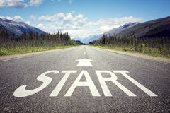 Start line on the highway. Concept for business planning, strategy and challenge or career path, opportunity and change Stock Photos
