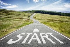 Free Start Line On The Road Ahead Disappearing Into The Distance Royalty Free Stock Photos - 143249758
