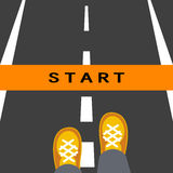 Start line road sign Stock Photography