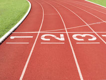 Start line at running track Royalty Free Stock Images