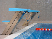 Start line in swimming pool. Start table in swimming pool, one line Stock Photo