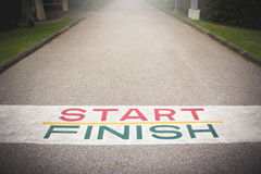Start line to finish line.  The path to victory Royalty Free Stock Photo