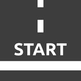 Start line, top view. White start line and word on gray asphalt, top view. Beginning, business and career concept. Flat design. EPS 8 vector illustration, no vector illustration