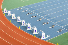 Start line for track an field competition Royalty Free Stock Photo