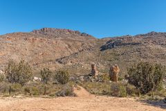 Start of the Maltese Cross hiking trail. The start of the Bokveldskloof hiking trail to the Maltese Cross near Dwarsrivier in the Cederberg Mountains royalty free stock image
