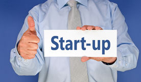 Start - Manager mit Anmeldung und dem Daumen stockfoto