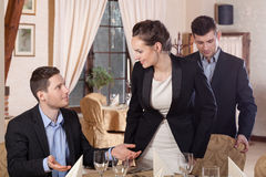 Start of the meeting in restaurant Stock Image
