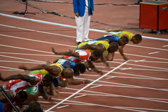 Start of mens 100-meter sprint. Usain Bolt sets new world record  for mens 100-Meter sprint at the 2008 Olympic games in Beijing Stock Image