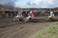 Start motocross, a group of motorbike racing Stock Photos