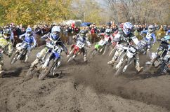 Start motocross, a group of motorbike racing Royalty Free Stock Photos