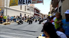 Start Of A Motorcycle Street Race. The start of the supermotard race at the Algueña road circuit in Spain stock footage
