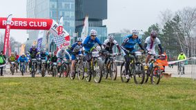 Start on mountain bike contest. Mountain bike contest on unfinished construction. First edition of Urban Trail Cross Country Short Circuit - XCC inside of Stock Images