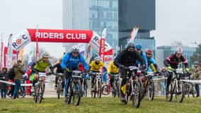 Start on mountain bike contest. Mountain bike contest on unfinished construction. First edition of Urban Trail Cross Country Short Circuit - XCC inside of royalty free stock images