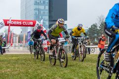 Start on mountain bike contest. Mountain bike contest on unfinished construction. First edition of Urban Trail Cross Country Short Circuit - XCC inside of stock photo