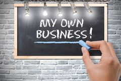 Time to start my own business, decision handwritten on chalkboard posted on grey wall. Start my own business, decision handwritten on chalkboard posted on grey Stock Image