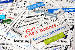 Start new business. Collage of newspaper headlines about the business Royalty Free Stock Image