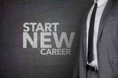 Start new career on Blackboard. Start new career on black Blackboard with businessman Stock Images