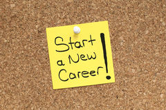 START NEW CAREER. START a NEW CAREER note pinned on cork noticeboard Royalty Free Stock Photo