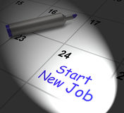 Start New Job Calendar Displays Day One In Position Stock Photos