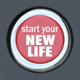 Start a New Life Red Button Press Reset Beginning. A green car ignition button with the words Re-Start Economy on it royalty free illustration