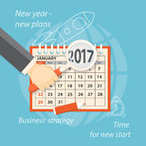 Start new plans. Flat  modern design concept of business strategy, planning. Image of calendar january 2017 and hand with magnifier on the background with hand Royalty Free Stock Photo