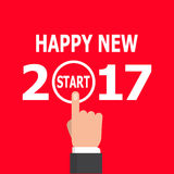 Start new year 2017 idea. Happy new year conceptual greeting card, vector illustration on red background. 2017 happy new year. New year 2017 card design. Start Stock Photography
