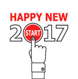 Start new year 2017 idea. Happy new year conceptual greeting card, vector illustration on red background. 2017 happy new year. New year 2017 card design. Start Royalty Free Stock Photos