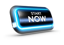 Start Now Button Over White Background Royalty Free Stock Image