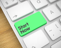 Start Now - Inscription on the Green Keyboard Button. 3D. royalty free illustration