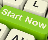 Start Now Key Meaning To Commence Immediately On Internet Royalty Free Stock Photo