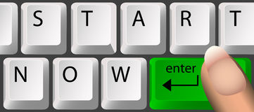 START NOW, Keyboard. Keyboard, with a green Enter key, spells out 'start now'. Clean render of a vector Stock Photo