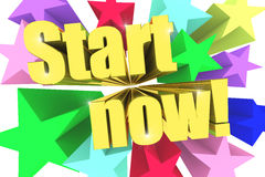 Start Now motto. Golden text with vivid stars Royalty Free Stock Photo